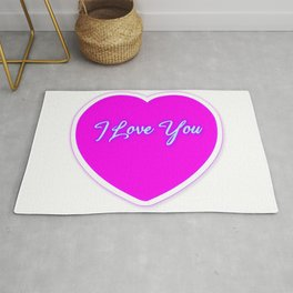 Neon Pink Love Heart Rug