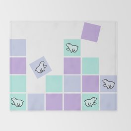 polar bear sqaures Throw Blanket