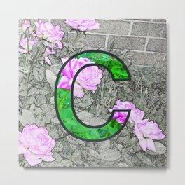 Rose Monogram C Metal Print