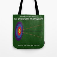robin hood Tote Bags featuring Robin Hood Minimal Movie Poster by MX Designs