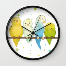 The Budgie Bunch Wall Clock
