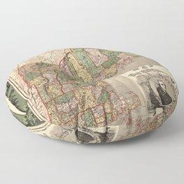 Map of New England 1847 Floor Pillow