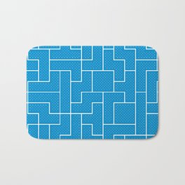 White Tetris Pattern on Blue Bath Mat