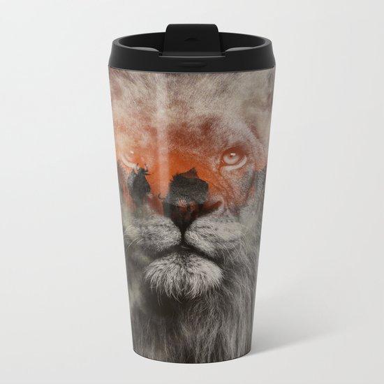 Lion In Fog Metal Travel Mug