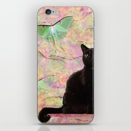 Luna Cat Pink & Green iPhone Skin