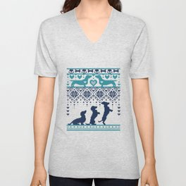 Fair Isle Knitting Doxie Love // navy blue background white and teal dachshunds dogs bones paws and hearts Unisex V-Neck