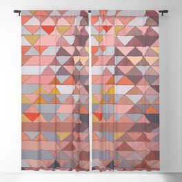 Triangle Pattern no.5 Gold, Pink and Brown Blackout Curtain