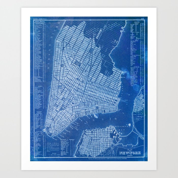 New York antique map, blue old maps, usa maps Art Print by routes