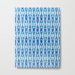Tribal Batik, Sapphire Blue and Silver Gray Metal Print
