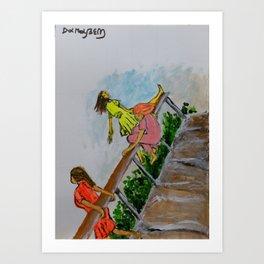Three girls on the bridge Art Print