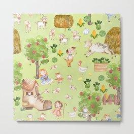 Mary Had A Little Lamb - Children´s Fairytale Pattern Metal Print