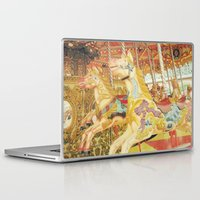 carousel Laptop & iPad Skins featuring Carousel Horse by WhimsyRomance&Fun