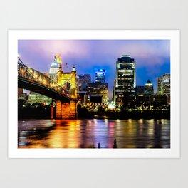 Cincinnati Ohio Skyline and the Ohio River Art Print