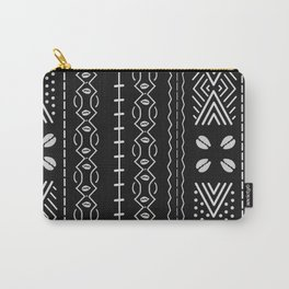 Black mudcloth with shells Carry-All Pouch