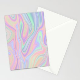 Liquid Colorful Abstract Rainbow Paint Stationery Cards