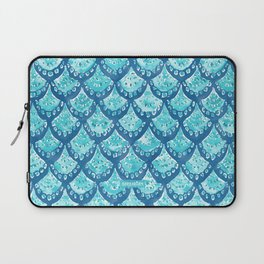 MERMAID SPARKLE Fish Scales Scallop Watercolor Laptop Sleeve