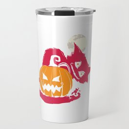 Scary Halloween Cat Jack O Lantern Moon Travel Mug