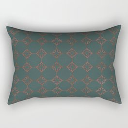 SUMERIA antique copper Persian motif pattern deep teal background Rectangular Pillow
