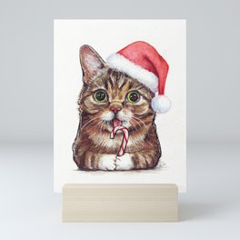 Christmas Cat in Santa Hat Whimsical Holiday Animals Mini Art Print