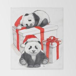 Christmas-Panda's babies g144 Throw Blanket