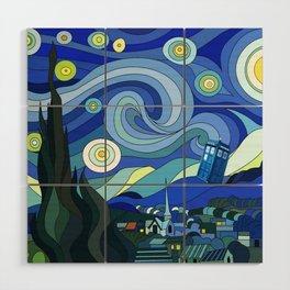 Tardis Art Starry Night Wood Wall Art