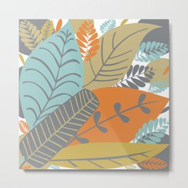 Bright Tropical Leaf Retro Mid Century Modern Metal Print