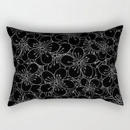 Cherry Blossom Black on White - In Memory of Mackenzie Rectangular Pillow