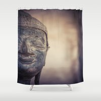 buddhism Shower Curtains featuring Buddha in Haw Phra Kaew, Laos by Maria Heyens