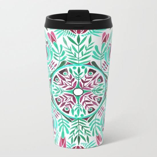Vibrant floral mandala Metal Travel Mug