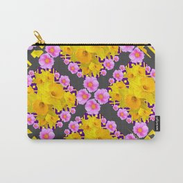Charcoal-Grey Pink Roses Daffodils Pattern Art Carry-All Pouch