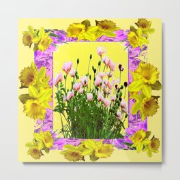 YELLOW DAFFODILS FLOWER GARDEN & PINK POPPIES DESIGN Metal Print