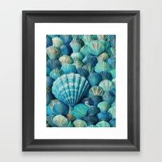 Painted blue and green seashells Framed Art Print