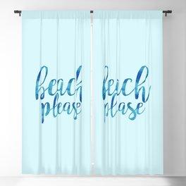 Beach Please - Blue Watercolor Quote Blackout Curtain