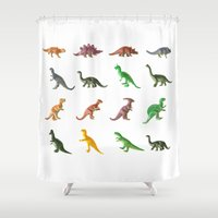 dinosaurs Shower Curtains featuring Vintage Dinosaurs... by Nature In Art...