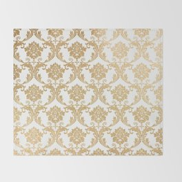 Gold swirls damask #4 Throw Blanket