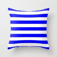 stripes Throw Pillows featuring Horizontal Stripes (Blue/White) by 10813 Apparel