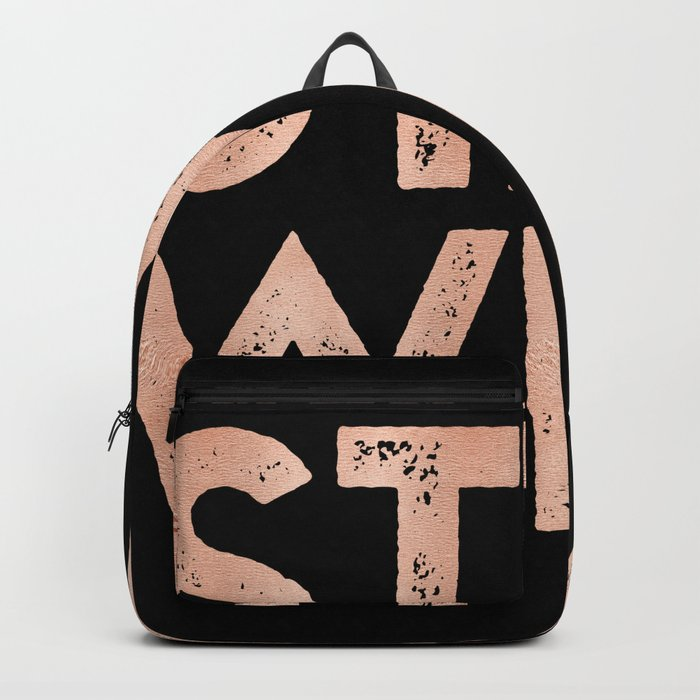 STAY WILD Rose Gold on Black Backpack