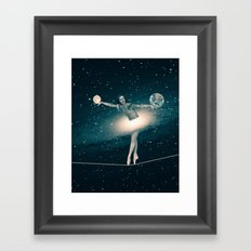 The Cosmic Game of Balance or Universe Ballerina Framed Art Print