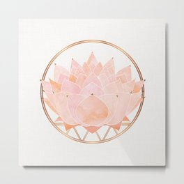 Blush Zen Lotus ~ Metallic Accents Metal Print