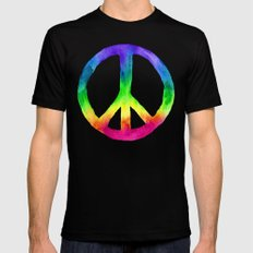 Rainbow Watercolor Peace Sign Mens Fitted Tee MEDIUM Black