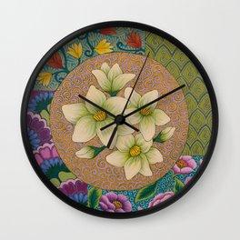 Jasmine Flower  Mandala  Wall Clock