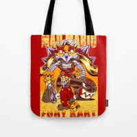 mario kart Tote Bags featuring Mad Mario: Fury Kart by RynoArts
