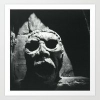 Creepy Sculpture Face Art Print