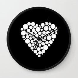Simple black and white pattern .heart black polka dots .  2 Wall Clock