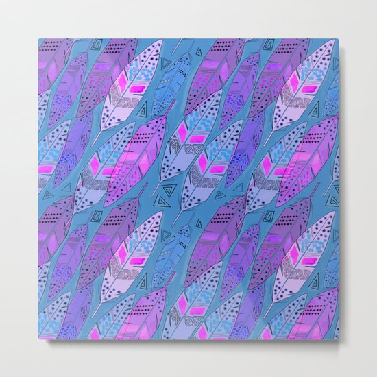 The colorful feathers on blue background . Metal Print