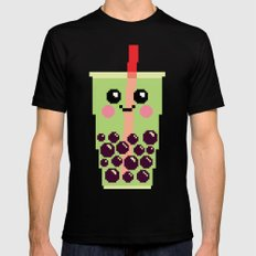 Happy Pixel Bubble Tea LARGE Black Mens Fitted Tee