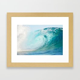 Pacific big surfing wave breaking Framed Art Print