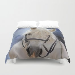 Painted White Horse head Duvet Cover