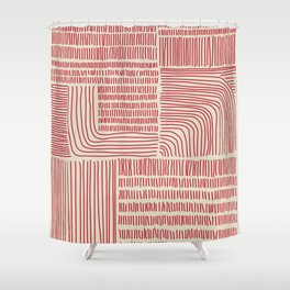 Digital Stitches whole beige + red Shower Curtain