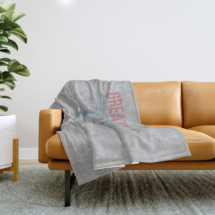 Maritime Design- Great Journey Ocean Adventure on gray abstract background Throw Blanket